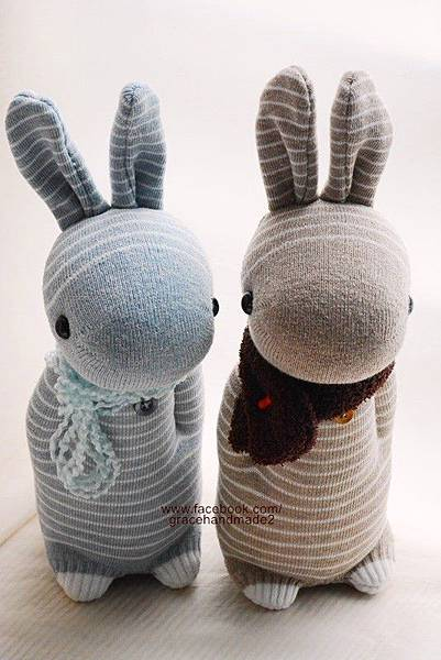 襪子娃娃283+284號條紋兔1
