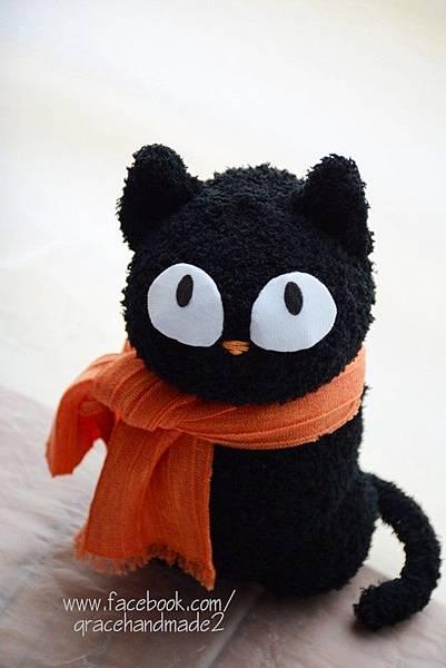 襪子娃娃301號大眼黑貓 (2)