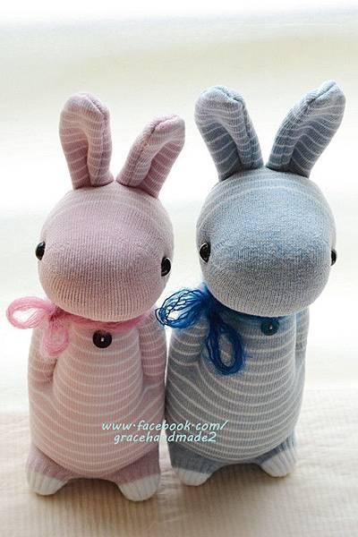 襪子娃娃318+319號條紋多米兔