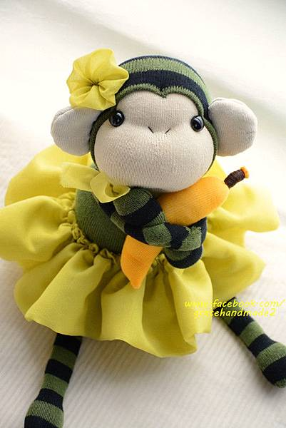 襪子娃娃320號綠裝小猴妹 (1)1