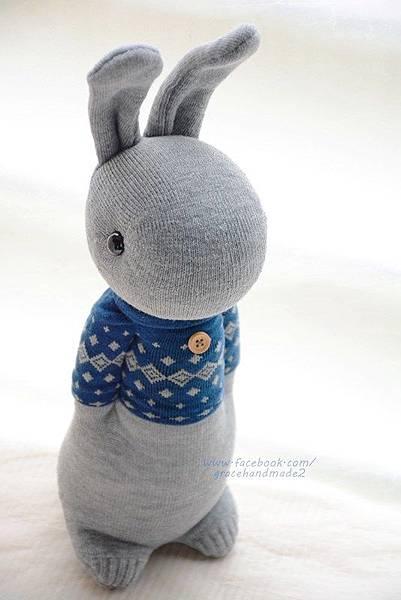 襪子娃娃321號藍T多米灰兔 (2)