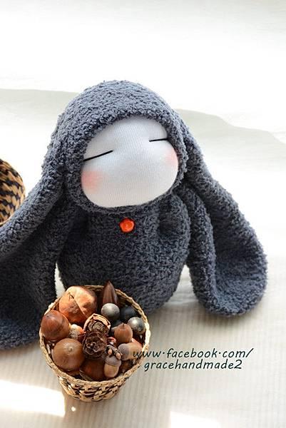 襪子娃娃323號長耳灰兔 (4)