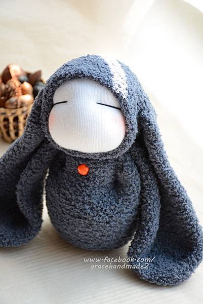 襪子娃娃323號長耳灰兔 (5)