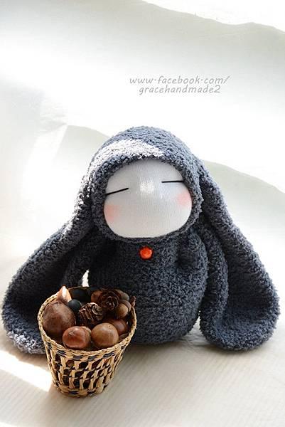 襪子娃娃323號長耳灰兔 (6)
