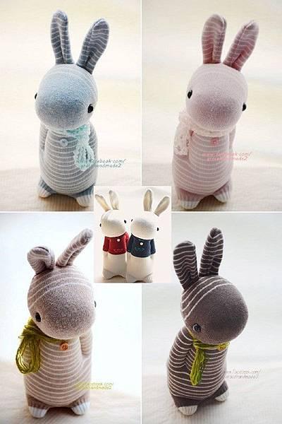 條紋多米6兔愛心T恤