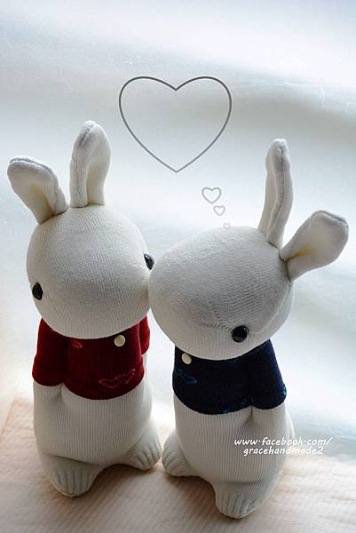 襪子娃娃330+331愛心T情侶多米兔