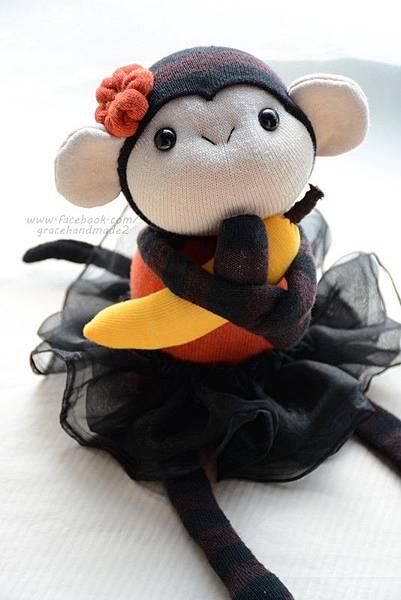 襪子娃娃332號黑橘小猴妹