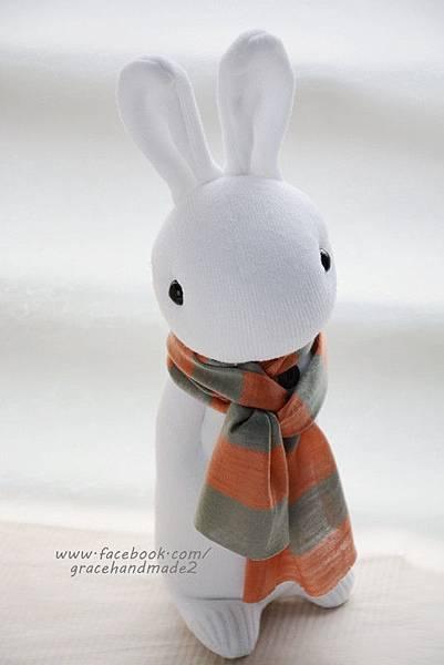 襪子娃娃337號白多米兔 (1)