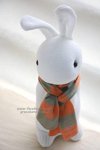 襪子娃娃337號白多米兔 (2)