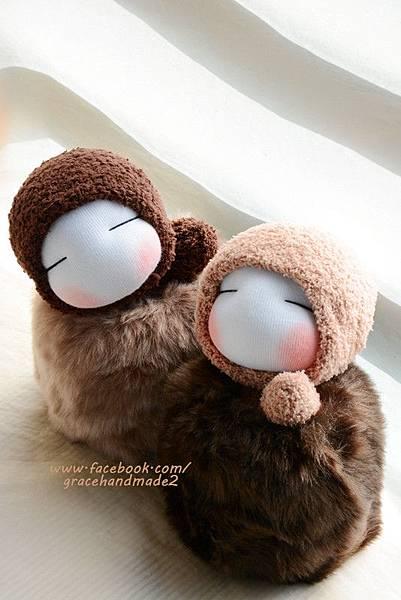 襪子娃娃345淺棕+346號深棕毛球貝比