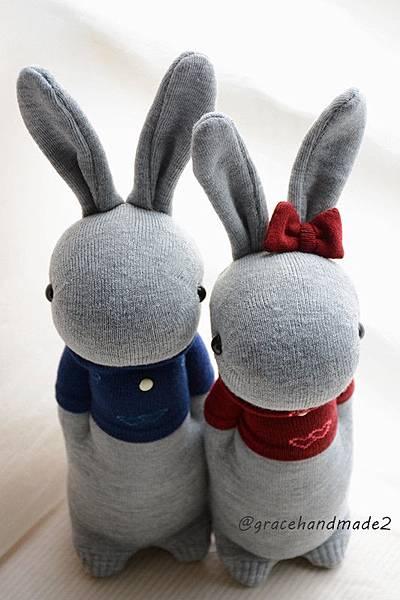 襪子娃娃354+355號T恤情侶灰兔 (2)