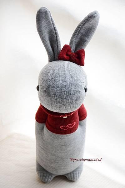 襪子娃娃355號T恤灰兔 (2)