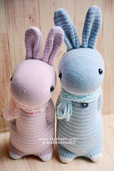 襪子娃娃357+358號條紋多米兔 (1)