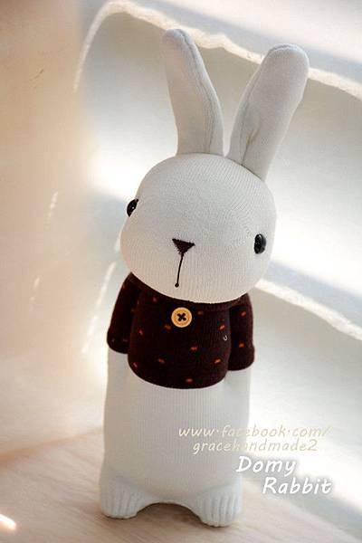 襪子娃娃363號點點咖啡T多米兔 Domy Rabbit