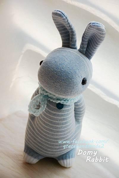 襪子娃娃361號藍色條紋多米兔 Domy Rabbit
