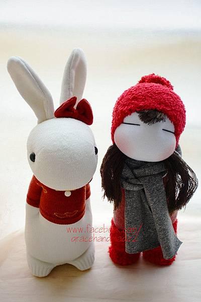 襪子娃娃364號紅靴女孩+365號蝴蝶結多米兔