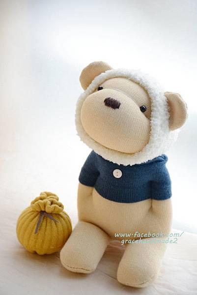 襪子娃娃367號白蜂蜜熊 (2)
