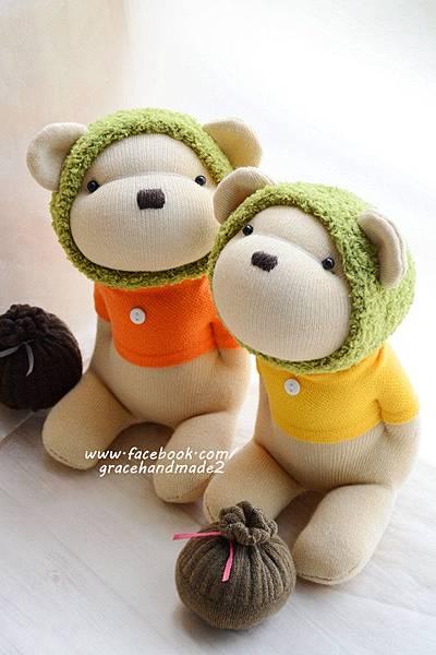 襪子娃娃368+369號綠蜂蜜熊