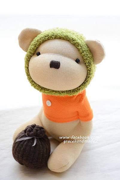 襪子娃娃369號綠蜂蜜熊 (1)