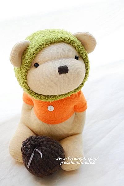 襪子娃娃369號綠蜂蜜熊 (2)