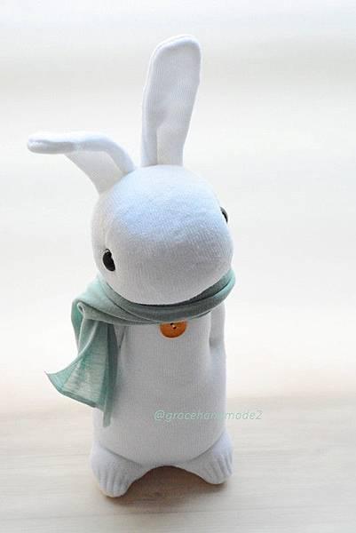 襪子娃娃431號白多米兔1