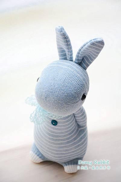 襪子娃娃516號灰藍條紋多米兔 (2)