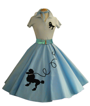 Adult Light Blue Poodle Skirt with Blue Sequin Belt.jpg