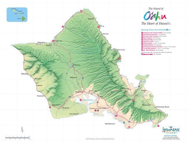 歐胡島 自行開車路線地圖oahu-drive-map