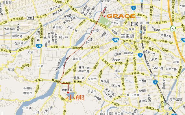 葛瑞絲民宿到小熊書房的地圖