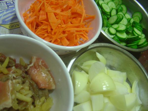 紅蘿蔔+小黃瓜+洋蔥+烤肉片