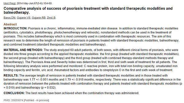 Comparative analysis of success of psoriasis treatment with standard therapeutic modalities and balneotherapy浴療對治療牛皮癬(銀屑病)的成功案例