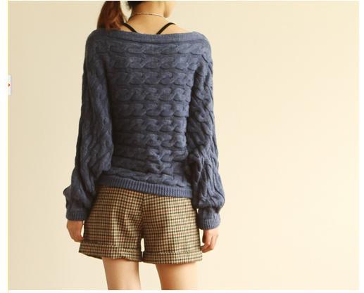 沐乃衣 2012秋裝新品韓版寬松一字領蝙蝠長袖針織衫毛衣上衣