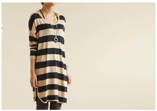 沐乃衣 2012秋裝新款韓版海軍風中長款寬松條紋套頭針織衫
