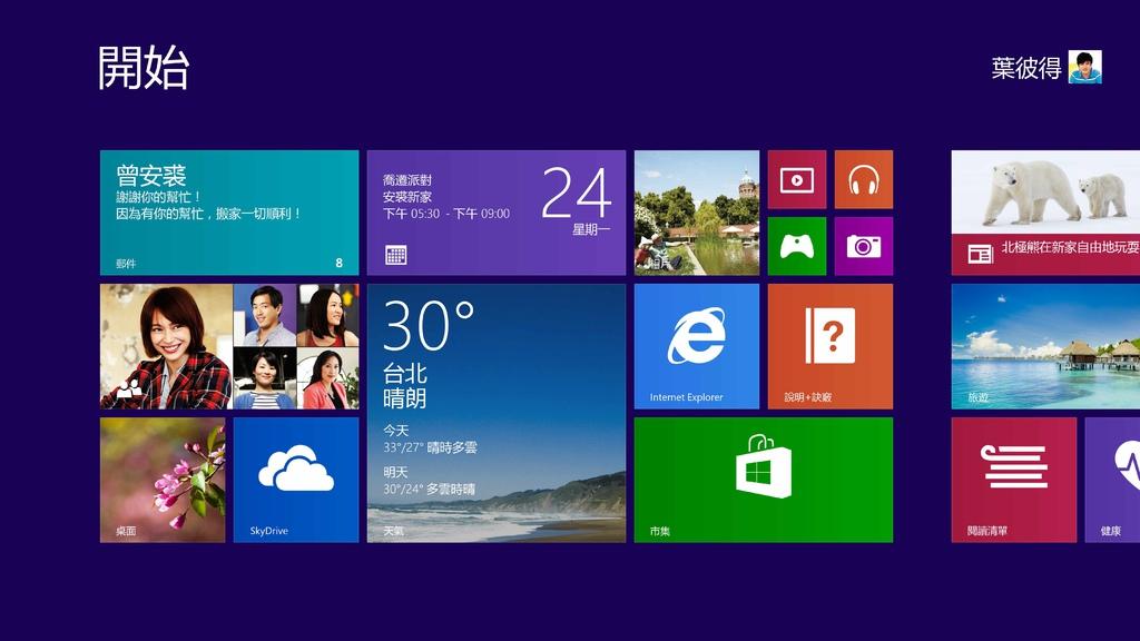 新聞照片4 Windows 8.1 開始畫面 (Start Screen)