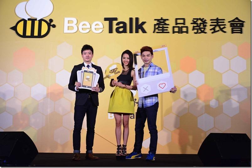 圖說:BeeTalk亞太區行銷長楊開翔(左)、BeeTalk代言人蔡依林(中)、BeeTalk記者會主持人阿Ken