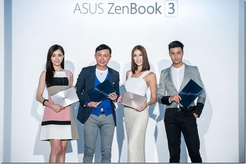 華碩發表會邀請時尚造型大師劉大強(左二)與日巴混血名模Akemi(右二)分享2016年秋冬的撞色時尚