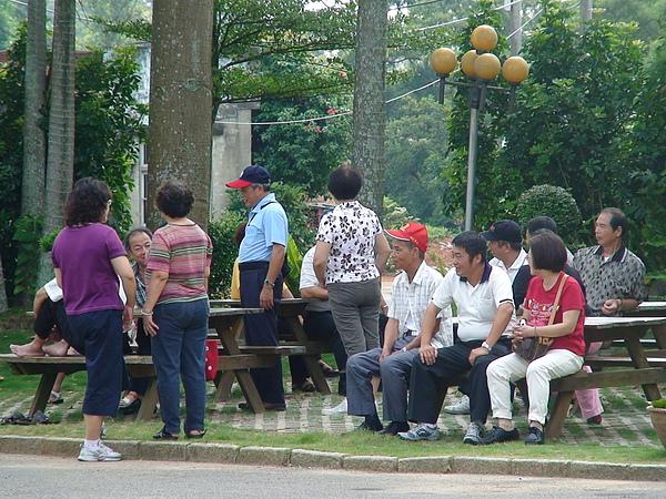 禪寺外的乘涼椅