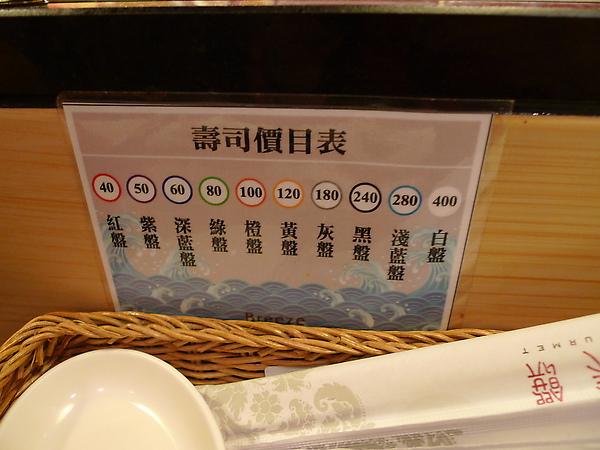 壽司價目表