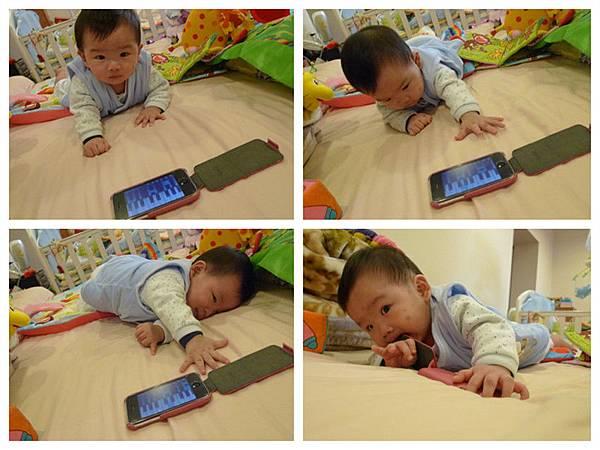 承貼身爬拿iphone