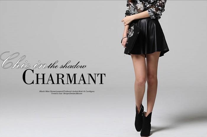 003 傘型皮革黑色圓裙
