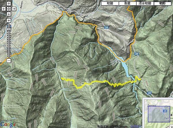 Chamanna Cluozza-Vallun Chafuol map
