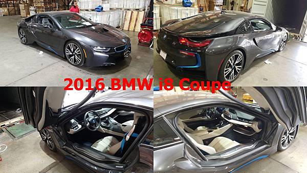 2016 BMW i8 Coupe  車身座位  2門2+2座  性能數據  231hp@5800rpm、32.6kgm@3700rpm  變速系統  6速手自排  引擎形式  渦輪增壓、直列三缸、DOHC雙凸輪軸、12氣門  排氣量  1499c.c.