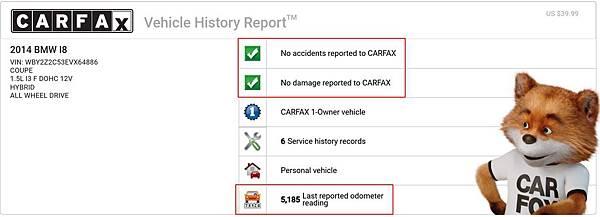 林口張先生非常喜歡跑車,希望有一天能有開跑車在路上奔馳,透過網站上找尋到GE台北車庫有在代購外匯車的服務,電話與面談過程中,了解張先生的需求,經過幾天的尋車,終於找到張先生滿意的跑車,2014BMW i8 Coupe,雖然年份比較久,透過CARFAX與AUTOCHECK報告查看,里程數非常低,並且零事故與損壞,沒發現什麼狀況,並且在美國同事也有協助查看車況,沒問題後就下訂回台灣囉。
