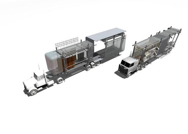 運送貨櫃的貨櫃車