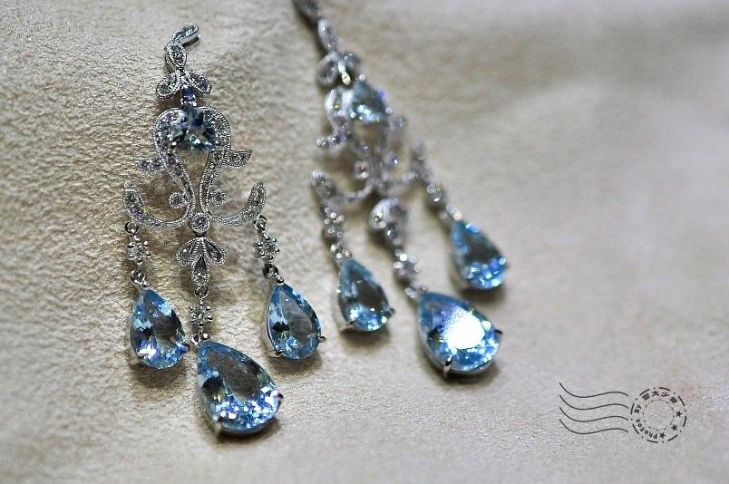 海水藍寶耳環