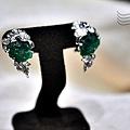 祖母綠原石耳環
