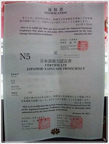 日檢N5合格證書
