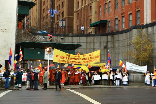 人權團體在聯合國前抗議