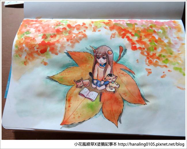 20161009秋季。楓葉。水彩繪圖過程08