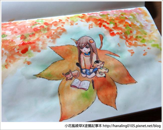 20161009秋季。楓葉。水彩繪圖過程07
